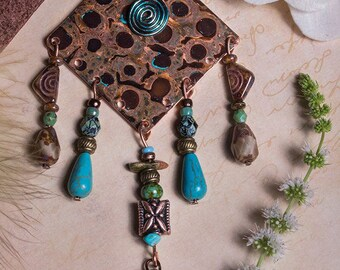Bohemian copper, polymer clay and czeck glass bead, tribal inspired necklace