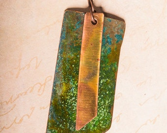 Forest fantasy green patina copper pendant