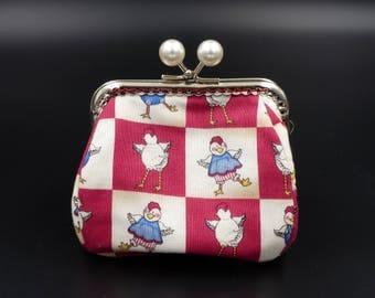 """chicken swing"" wallet / / purse / / fantasy wallet / / hen / / patchwork"