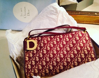 Christian Dior - purse shoulder leather and Monogram Canvas late 70's