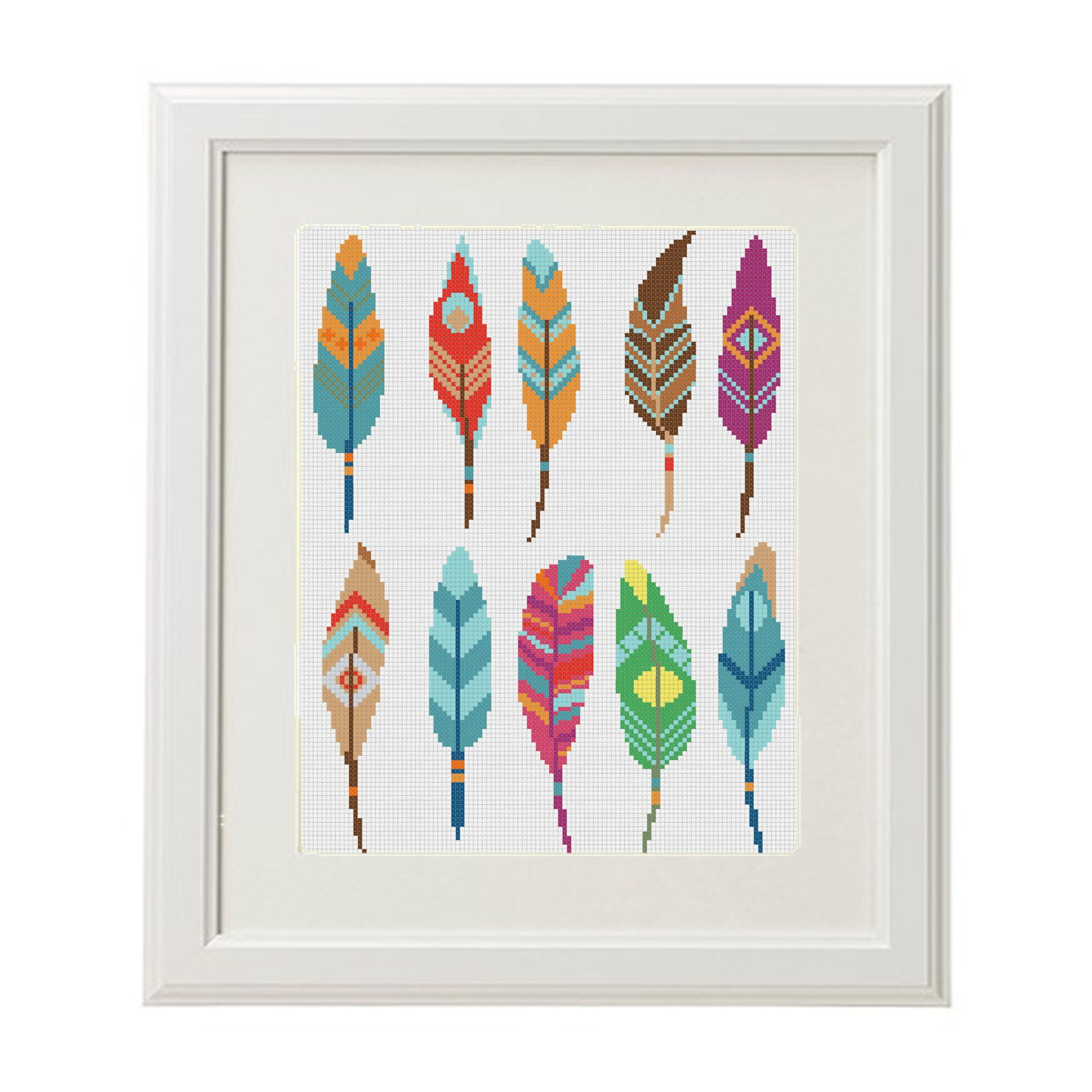 feather cross stitch modern cross stitch pattern home feathers