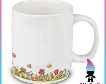 Simple Spring Flowers Bees Butterflys Ceramic Coffee Mug