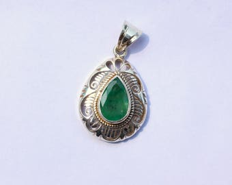 Emerald Pendant in Sterling Silver 950%