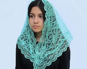 Light Turquoise Lace Traditional Mantilla Style Chapel Veil
