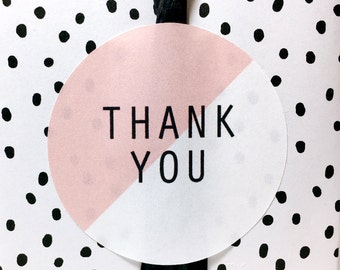 12 Pink and white round Thank you stickers, thank you stickers, thank you labels ,gift label, stickers, cute stickers, gift wrapping