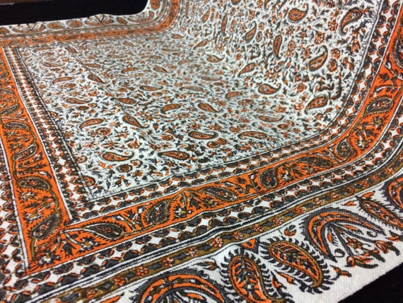 """Hand printed orange Table runner 45"""" inches long, traditional hand dyed tapestry, wall decor, tablecloth, natural textile"""