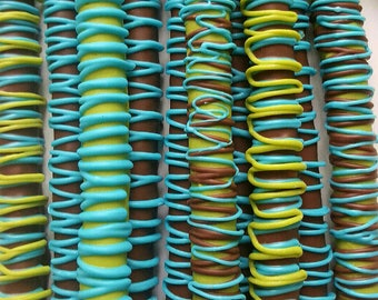 Gourmet Milk Chocolate Covered Pretzels Rods Party Favor Baby Shower Communion Anniversary Wedding Bridal Graduation Corporate Fathers Day!