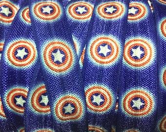 5/8 Captain America Elastic, Captain America FOE, Captain America Hair Ties, Fold Over Elastic by the yard