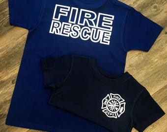Fire Rescue, Fire Department Shirt, Fire Birthday Shirt, Infant to Adult Size