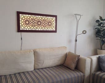 LED wall mural with Islamic/Oriental pattern artificial leather wall lamp light