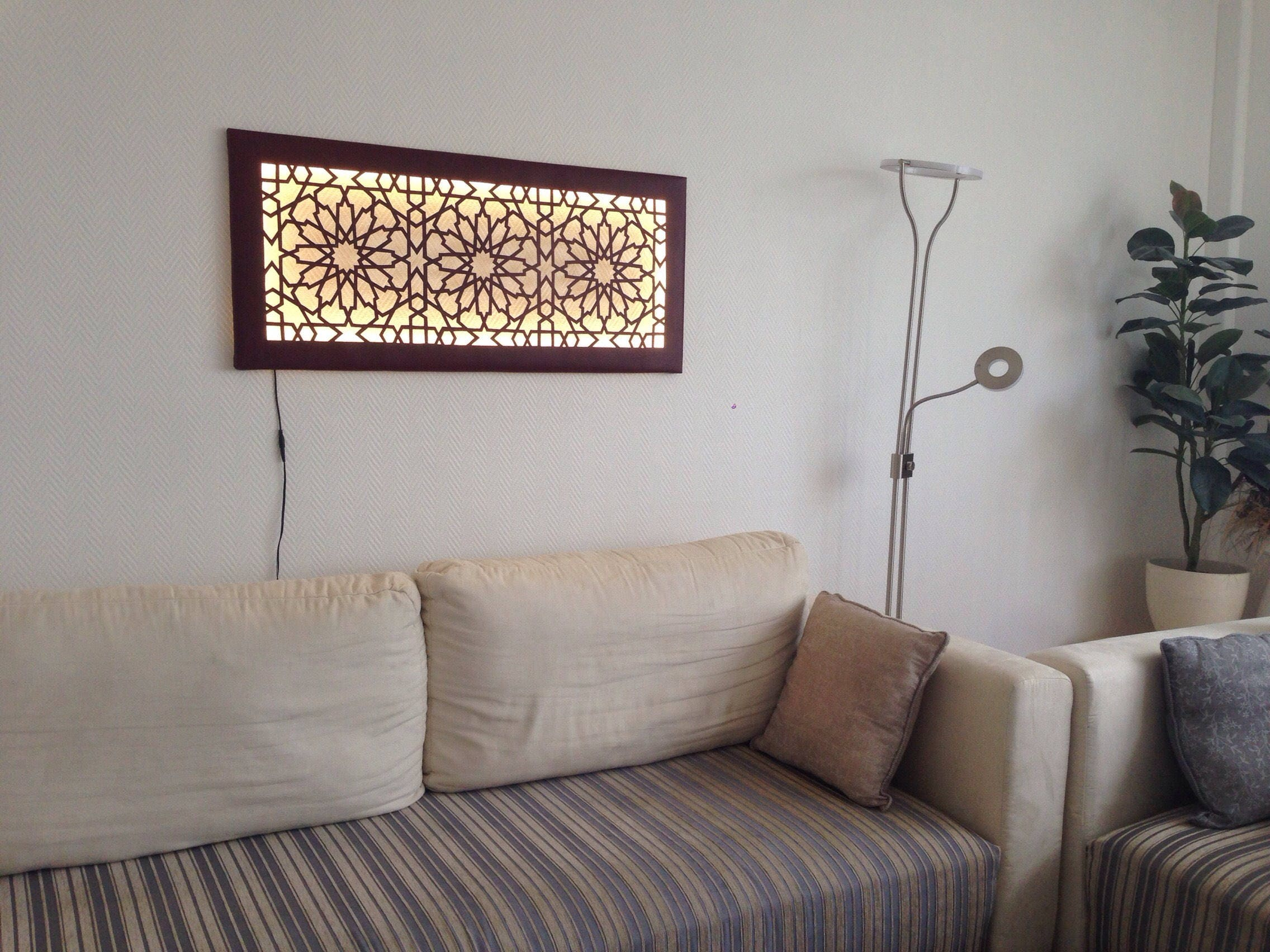 led wanddeko wandbild mit islamisch orientalischem muster. Black Bedroom Furniture Sets. Home Design Ideas