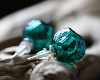 Stud Earrings - Emerald Ice Hand Blown Glass - Silver Studs - Faceted Glass - Green Sea Color - Bright Vivid