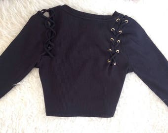 90's Soft Grunge Lace Up Black Crop Top