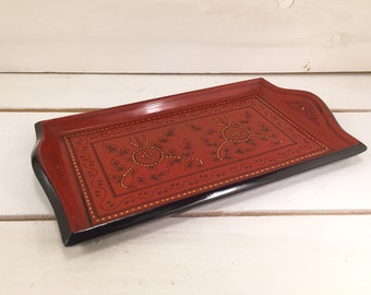 Unique Red Hand-made Burmese Lacquer Tray