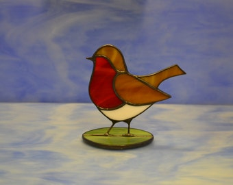 Stained Glass Robin Suncatcher Decoration Hand made