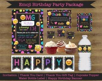 Emoji Birthday Party Invitations; Emoji Thank You Cards; Emoji Birthday Party Printables; Emoji Birthday Invitations; Emoji Party Printable
