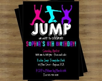 Trampoline Party Invitation; Jump Party Invitation; Trampoline Birthday Invitations; Trampoline Invitation; Jump Birthday Invitation