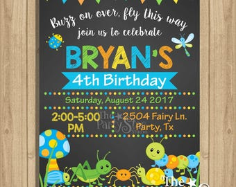 Bugs Birthday Invitation, Boy Bugs Birthday Invitation, Bug Birthday Party Invitation