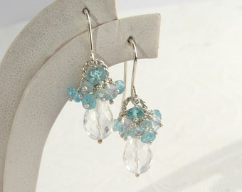 Rock crystal earrings 925 Silver Blue apatite, aquamarine, clear drop