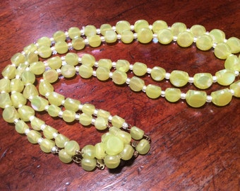 Western German Yellow Lime Multi Strand necklace