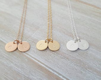 Double initial charm necklace | sterling silver, 14K Rose gold, gold filled | disc necklace | 30th | personalised | engraved two discs