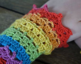 CROCHET WRIST WARMERS Arm Warmers Fingerless Gloves Mitts - Rainbow Handcrafted Pointy Picots