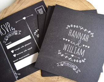 Rustic Chalkboard Wedding Invitation Sample