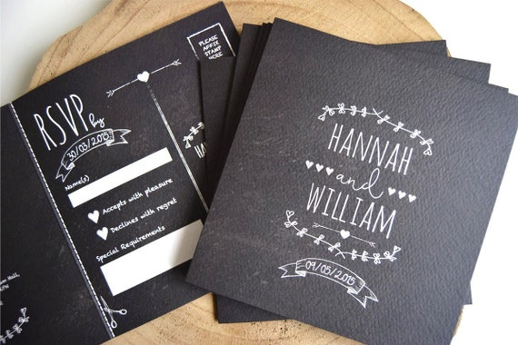 Rustic Chalkboard Wedding Invitation Sample
