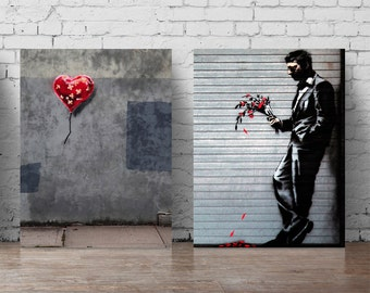 Banksy flowers graffiti poster set love wall decal A5-A0 large wall sticker Banksy print set heart abstract wall art graffiti wall decal 319