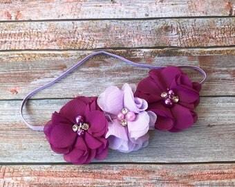 Purple Headband, Plum Headband, Baby Headband, Infant Headband, Baby Girl Headband, Toddler Headband, Girls Headband, Eggplant Headband