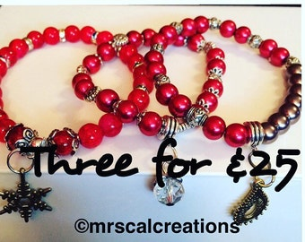 Trio of red beaded bracelets! Stacked bracelets!