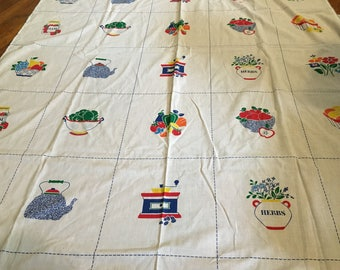 Vintage Table Cloth with Kitchen Items in Bold Red Yellow Blue and Green