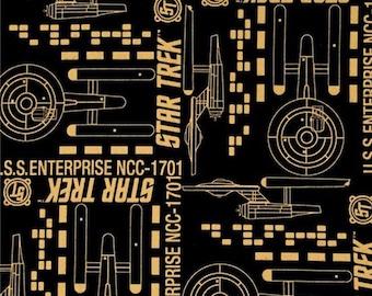 """End of Bolt, Star Trek Enterprise Metallic Cotton Fabric from Camelot Fabrics 28""""x44"""""""