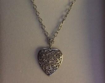 1928 Silvertone Heart Filigree Necklace