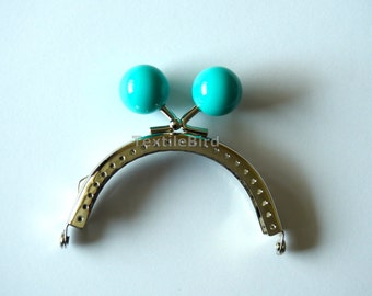 Metal Frame Kiss Clasp 8.5 cm silver, Teal beads
