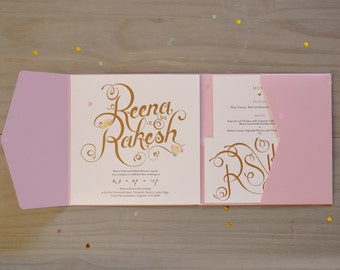 Calligraphy Wedding Invitation, Rose Pink Pocket Fold