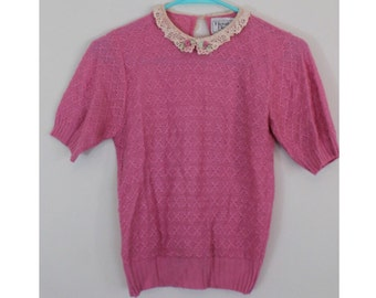Vintage 1980s Doing 1930s Sweater - Pink Short Sleeve Sweater with Lace Collar - Knit Top - Size XS, Extra Small, Small