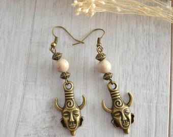 Dangle Bronze AFRICAN MASK Earrings with sandstone bead, bronze dangling earrings, Ethnic Tribal African style earrings