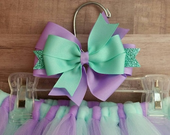 Purple and aqua tutu, birthday outfit, baby tutu, kids tutu, photography prop, tutu and bow set, tutu skirt, tulle skirt