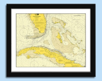Boating Gift - Gift for Boaters - Florida Straits Chart - Nautical Chart Decor