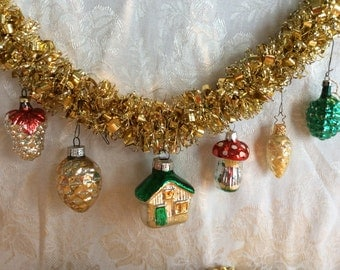 Vintage 6 miniature Christmas tree ornaments pine cone mushroom and house