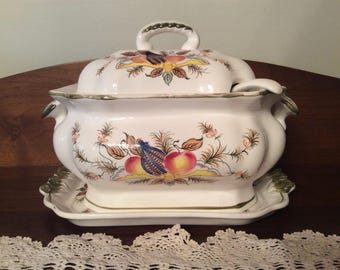 Vintage tureen under plate laddle and lid Fall harvest squash pattern Pascal Hardware Co ceramic