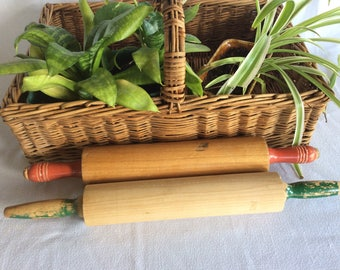 Vintage Choice wood rolling pin green or red handle Retro kitchen classic pie dough roller tool decor or use