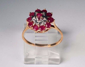 14K Yellow Gold Ruby Ring , 2.3 grams, Size 7