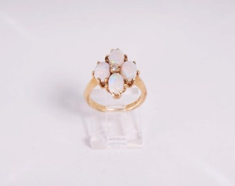14K Yellow Gold Opal and Diamond Chip Ring, 4.4 grams, size 5