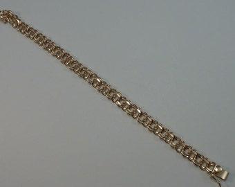 "16.3 Gram 14K Yellow Gold 7"" Double Link Charm Bracelet"