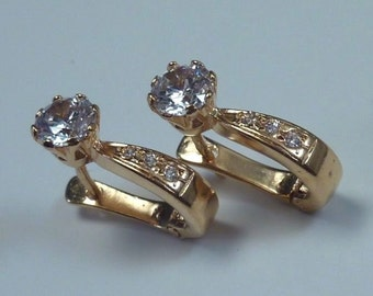 19k Yellow Gold and White Sapphire Earrings