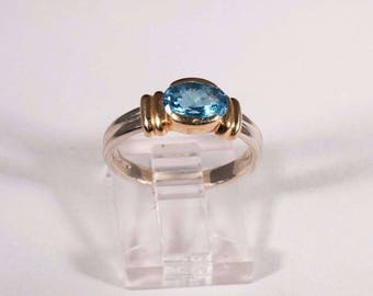 14K Yellow and White Gold Blue Topaz Ring, size 6.5