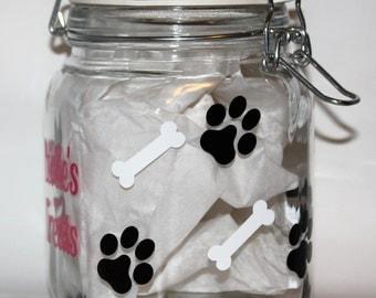 Custom Dog Treat Jar, Dog Treat Jar, Personalize Dog Treat Jar, Personalized Treat Jar
