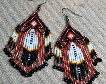 "Handmade Native American Beaded Earrings Southwest Design with Galvanized Copper Beads size 15 Miyuki beads. 1 1/4"" x 2 1/2"". Made in USA."